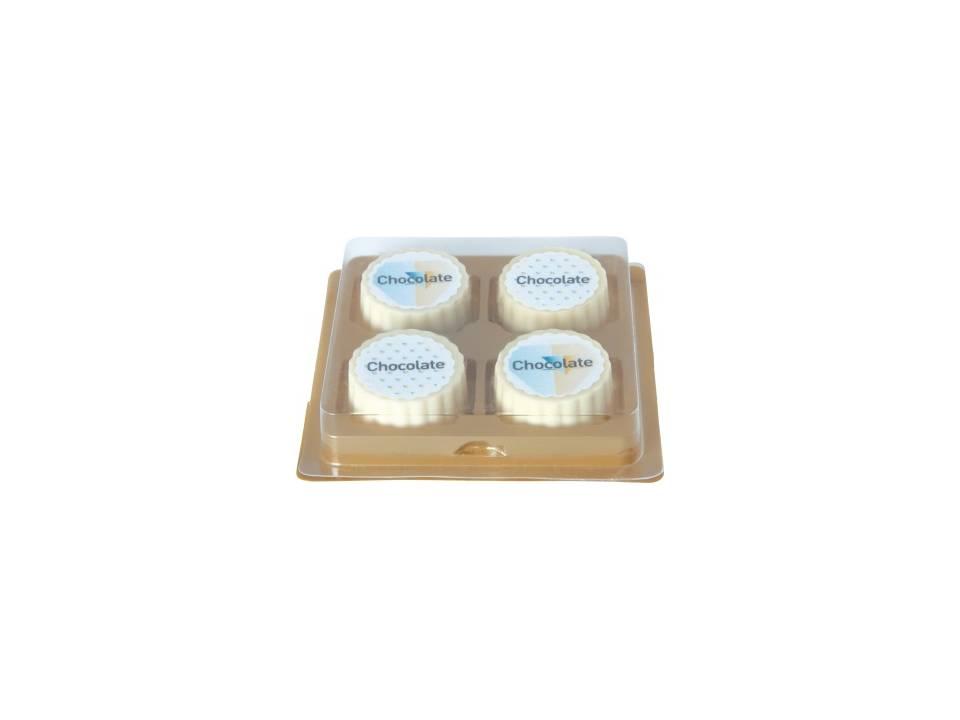 4 logo bonbons van witte chocolade met hazelnoot praline bedrukken