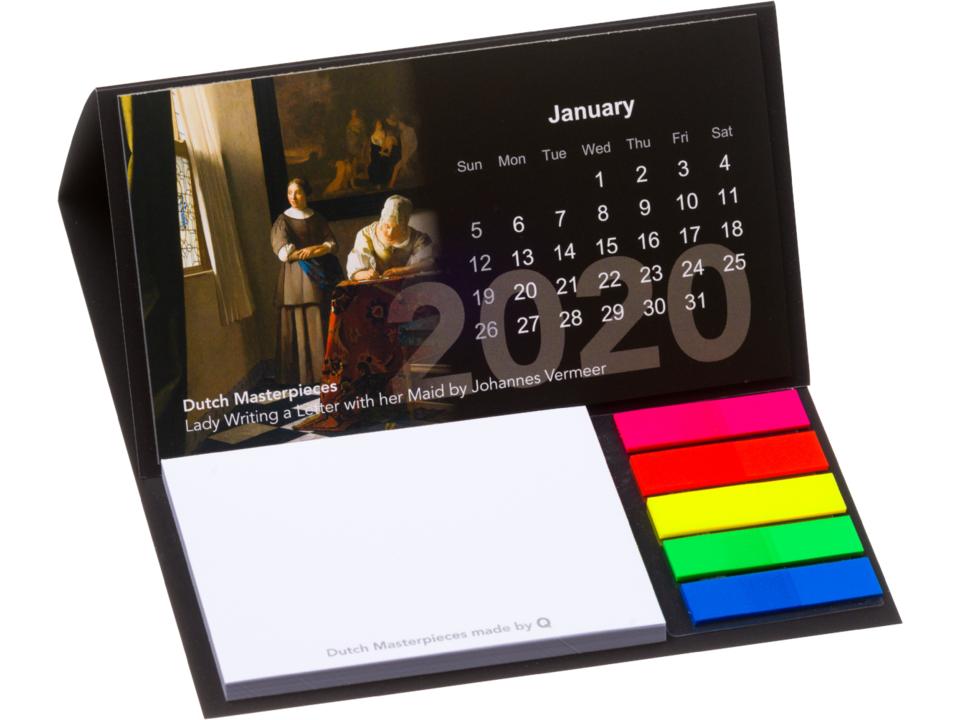 Bureau kalender 2021. met sticky notes en pagemarkers