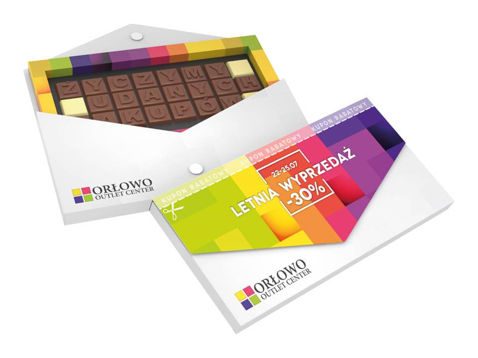 Chocoladetekst in gepersonaliseerde enveloppe - 24 letters bedrukken