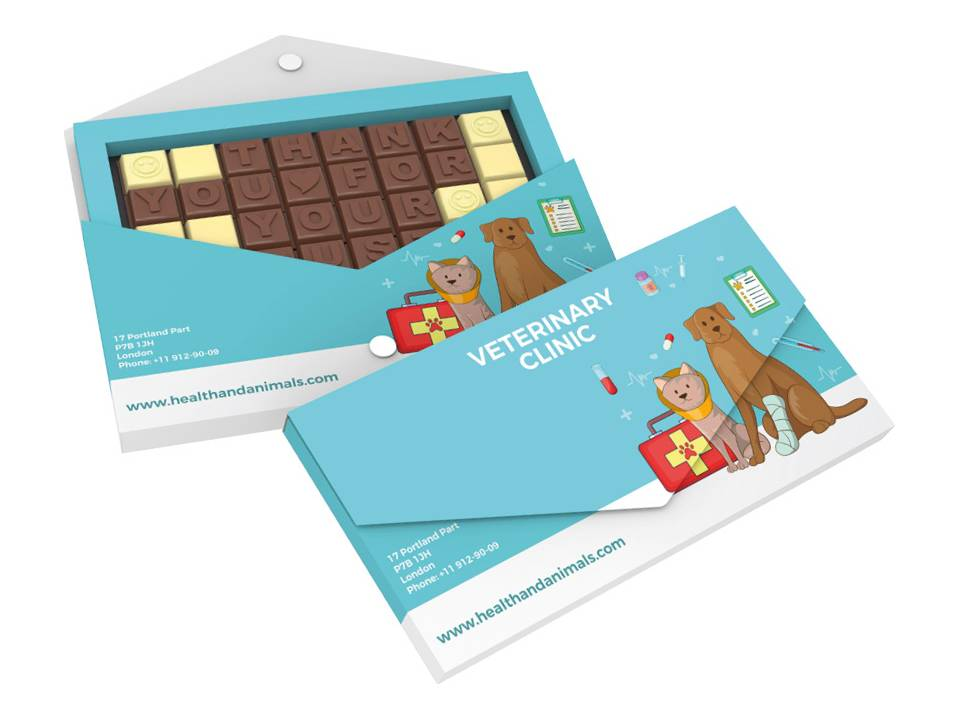 Chocoladetekst in gepersonaliseerde enveloppe - 32 letters bedrukken