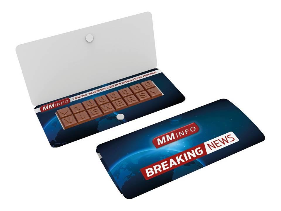 Chocoladetekst in gepersonaliseerde enveloppe bedrukken