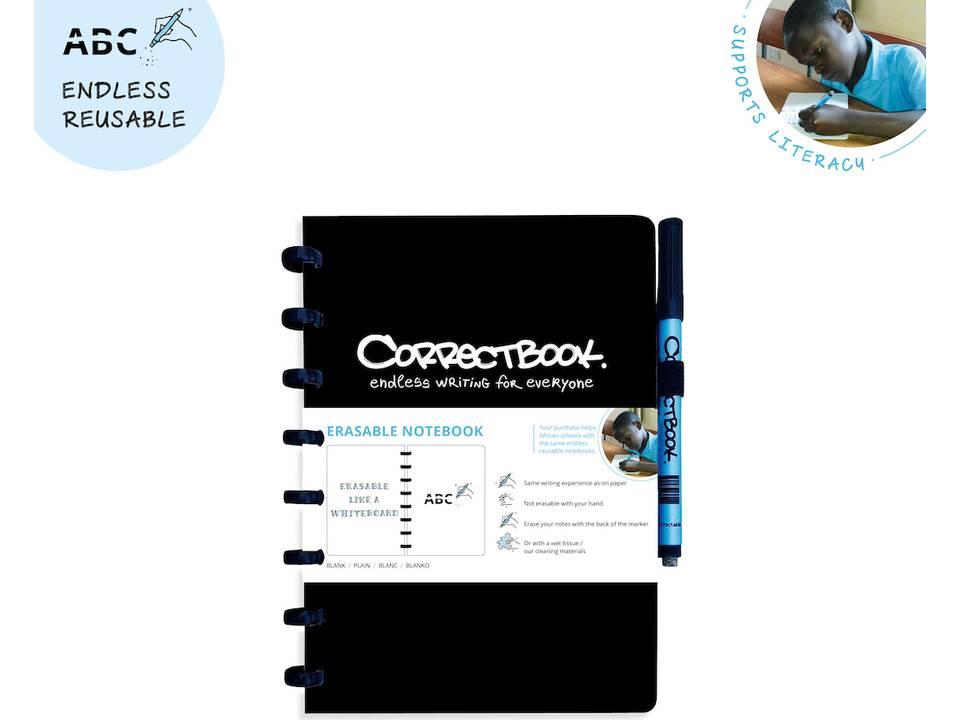 Correctbook - uitwisbare en herbruikbare notitieboek zwart