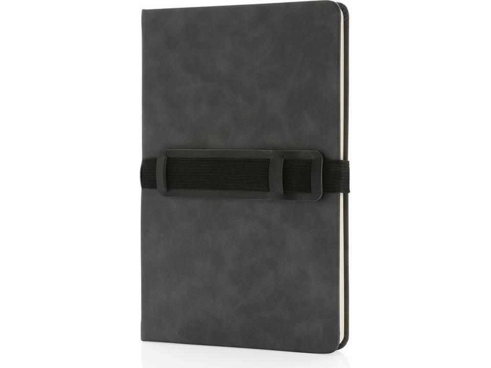 Deluxe hardcover PU A5 notitieboek met telefoon- en penhouder