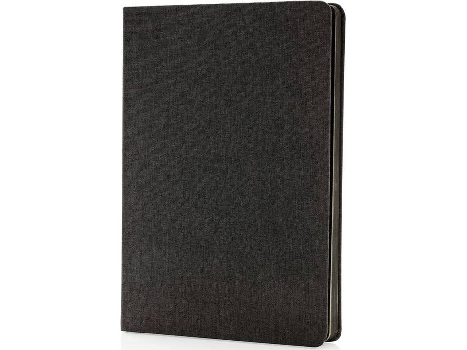 Deluxe stoffen notitieboek met zwarte zijkant bedrukken