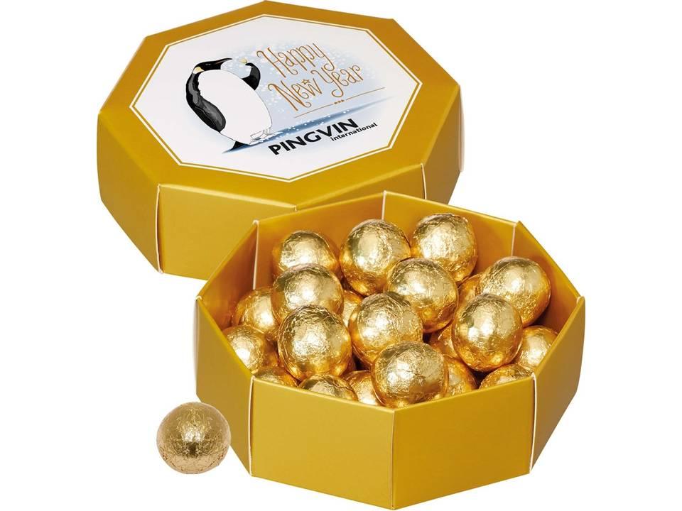 Geschenkdoos met gouden chocoladekogels
