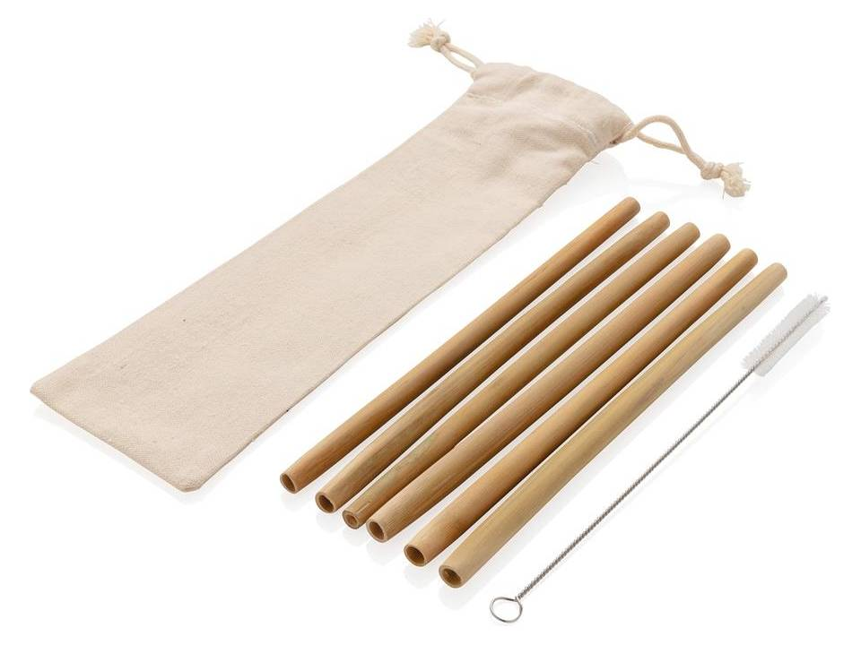 Herbruikbaar bamboe rietje set 6 stuks