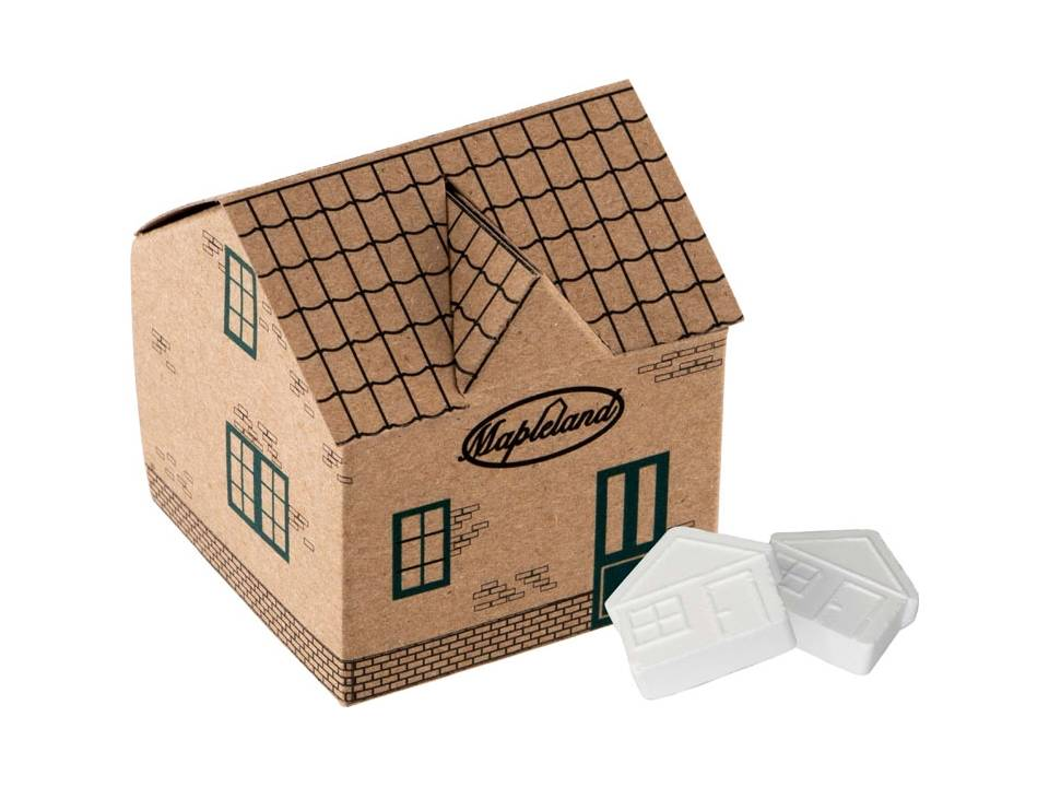 Huis van Kraft papier gevuld met huismints