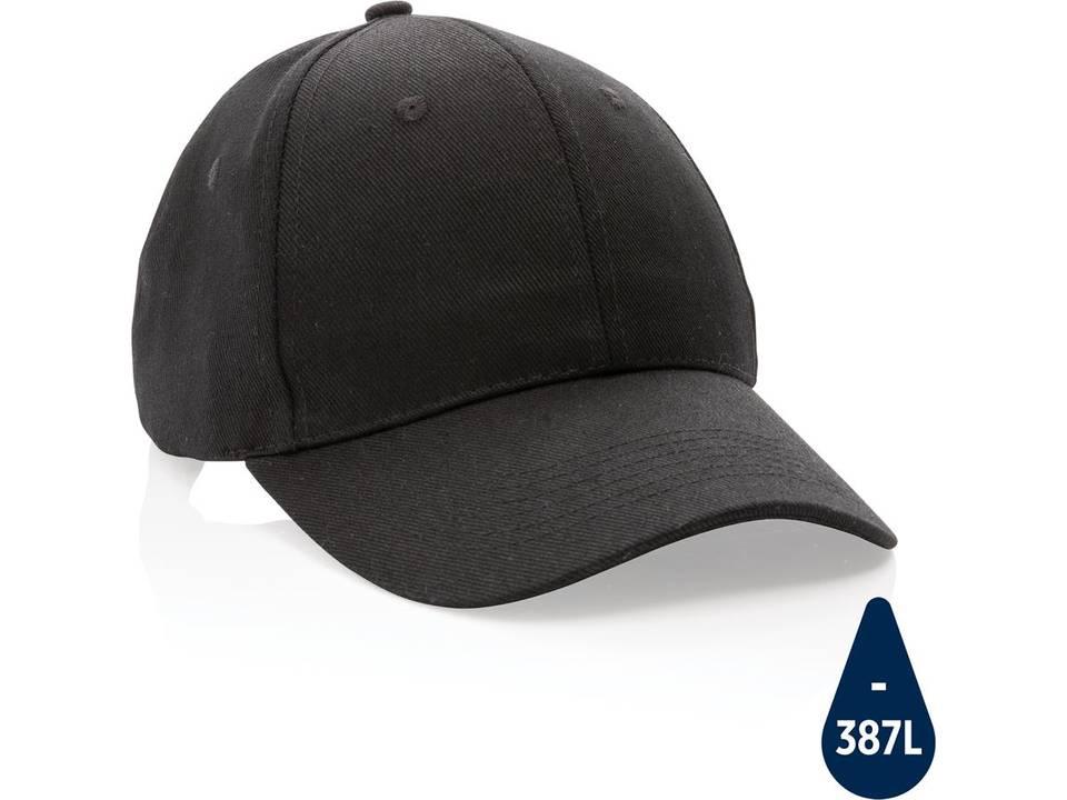 Impact 6 panel 280gr gerecycled katoenen cap met AWARE™ trac-zwart