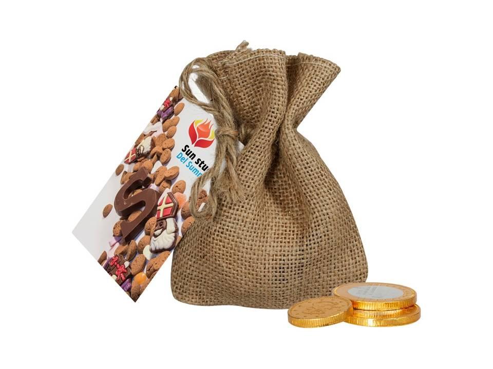 Jute zakje chocolade munten bedrukken