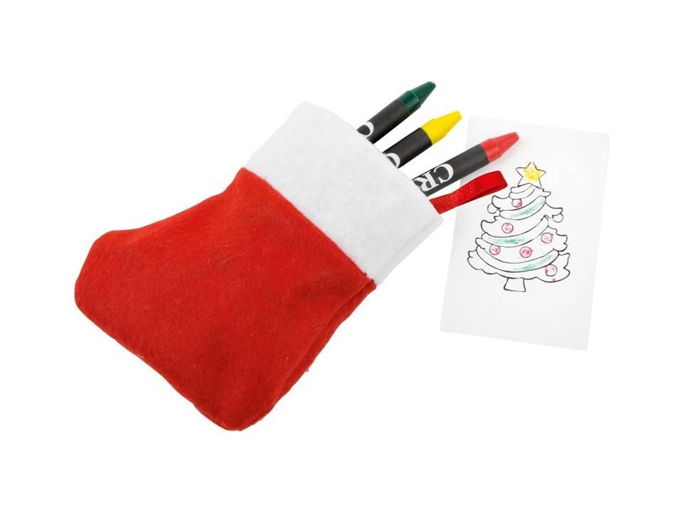 Kerstsok Nicola met wasco kleurplaatjes
