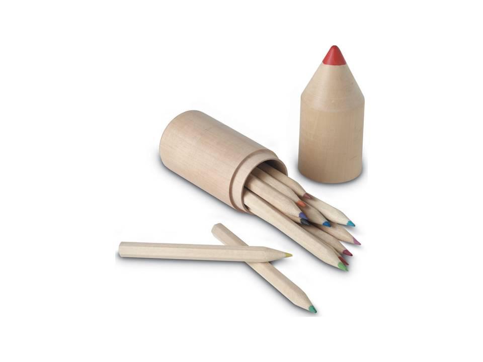 Kleurpotloden in houten potlood koker