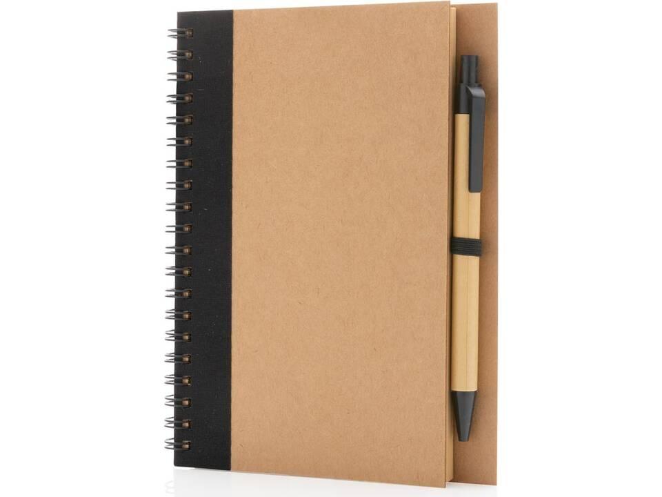 Kraft spiraal notitieboekje met pen-zwart