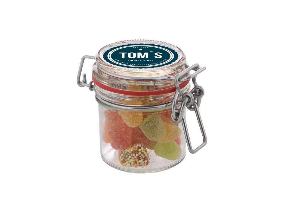 Mini weckpotje gevuld met winegums of Tum Tum snoepjes
