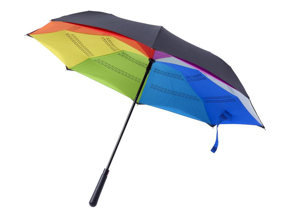 Omkeerbare paraplu met gekleurde onderlaag