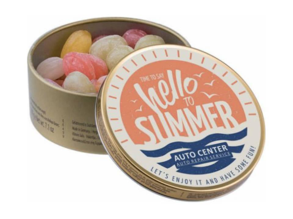 Rond blikje met travel sweets bedrukken