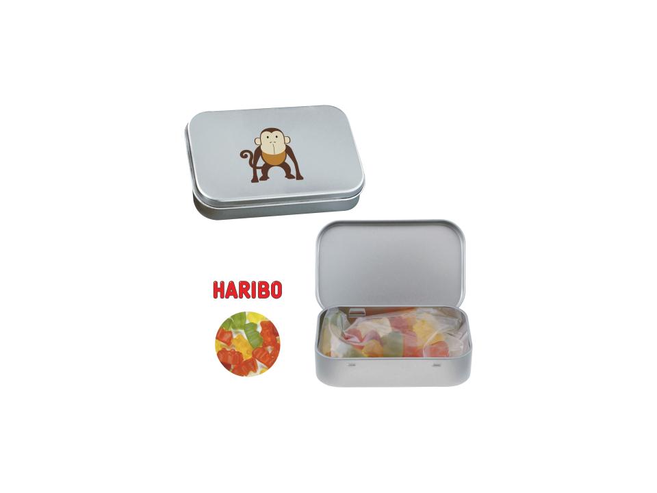 Scharnierblik met Haribo gummibeertjes snoepgoed