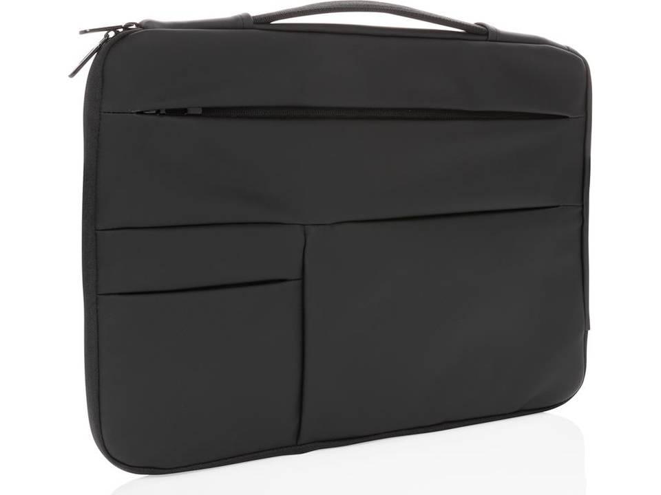 "Smooth PU 15.6"" laptop sleeve met handvat PVC-vrij -zwart"