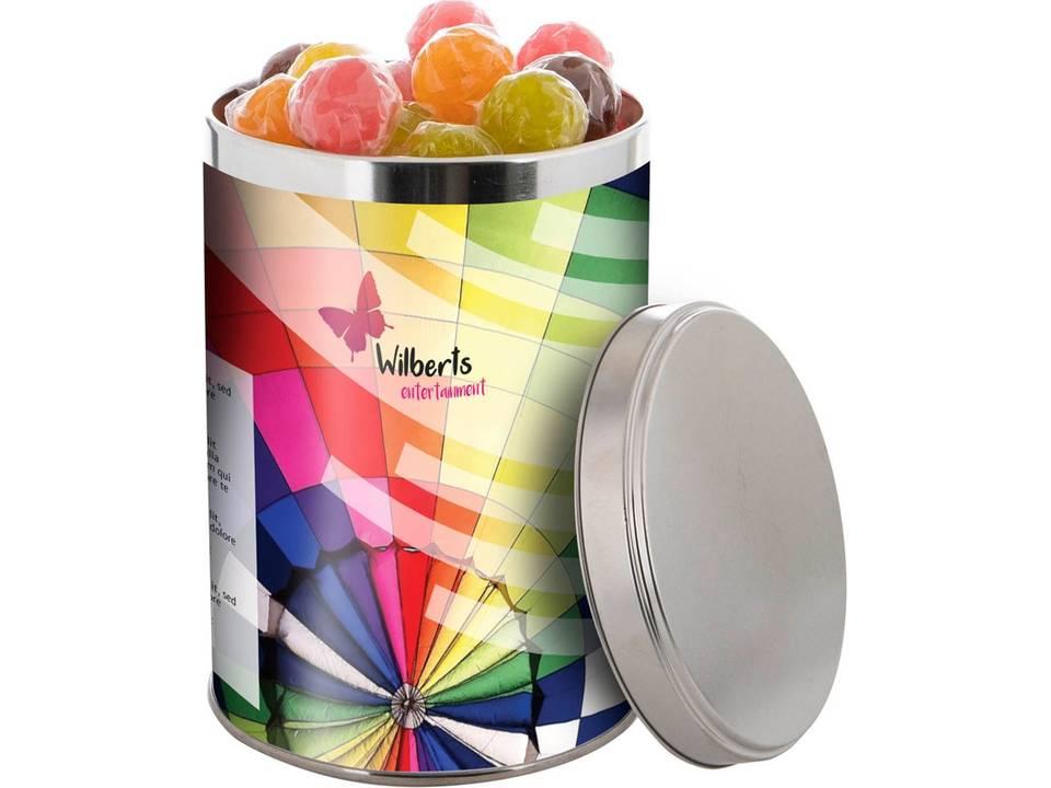 Snoepblik gevuld met kauwgom ballen of snoepgoed