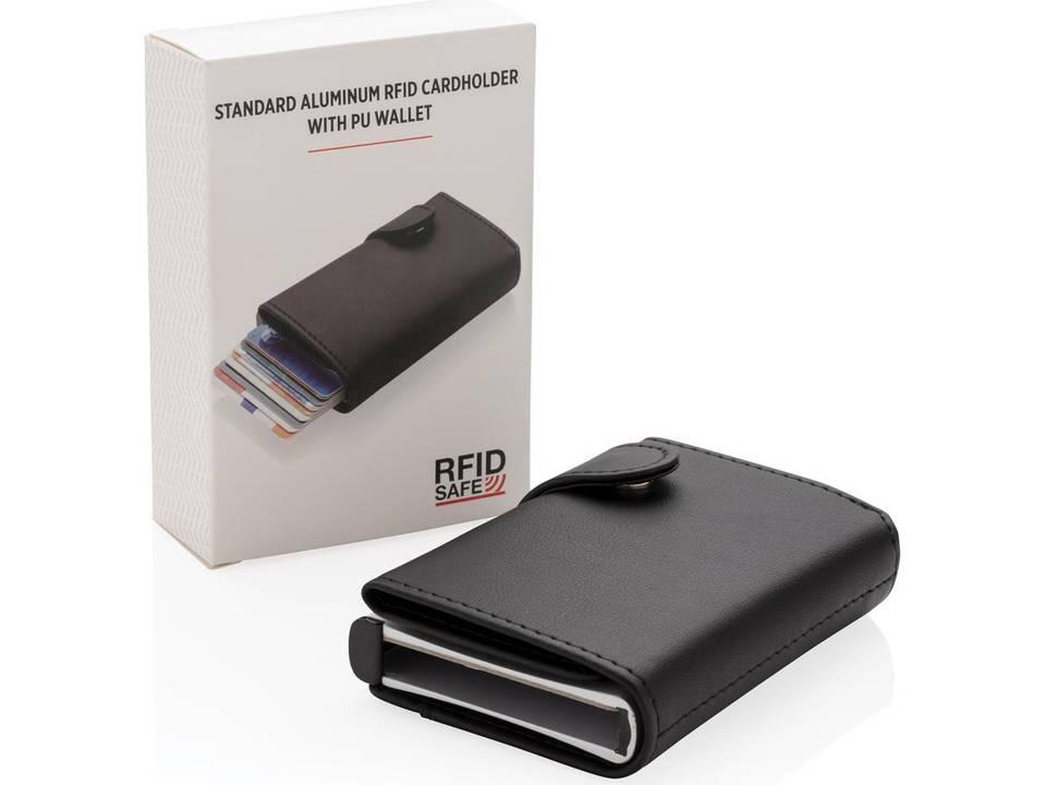 Standaard aluminium RFID kaarthouder met PU portemonnee bedrukt