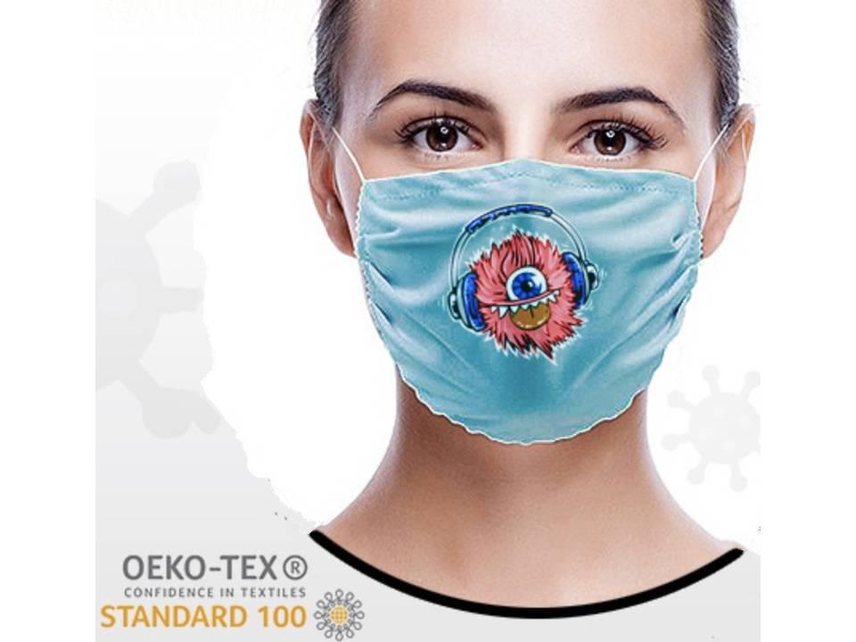 Wasbaar stoffen mondmasker met bedrukking naar keuze
