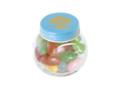 Klein glazen potje gevuld met jelly beans 1