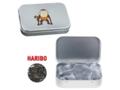 Silver tin with Haribo liquorice coins
