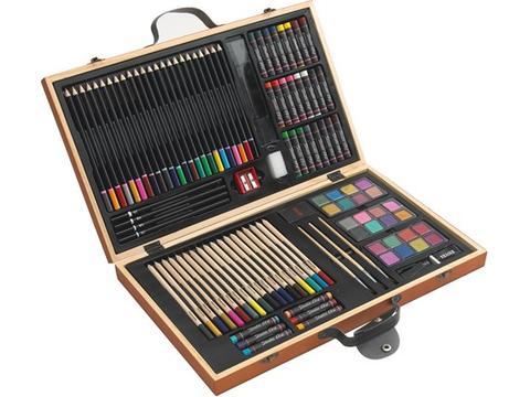 88-delig tekenset in houten doos