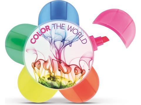 5 kleuren Fluo bloemenmarker