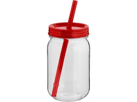 Drinkbeker met rietje - 750 ml