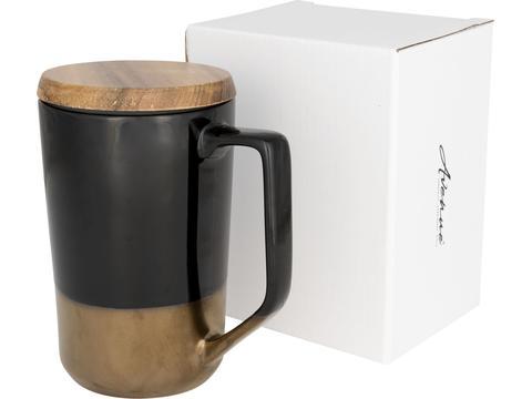 Thee of koffiemok met houten deksel - 470 ml