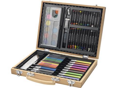 Boite de 67 crayons feutres et peinture