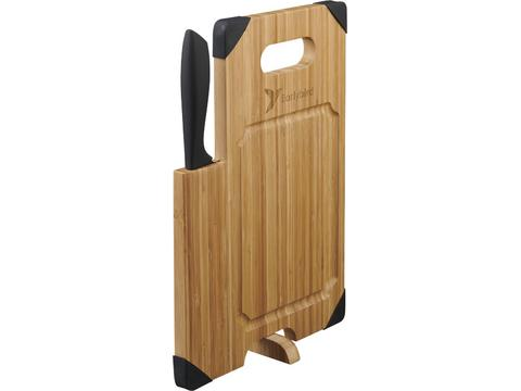 Cutting board with knife