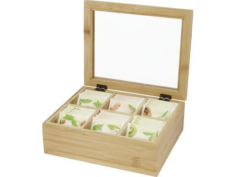 Ocre bamboo tea box