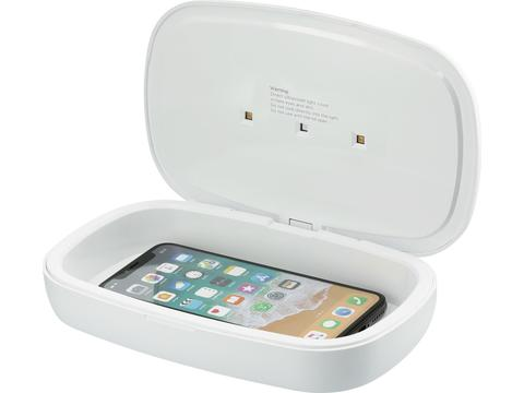 Capsule UV smartphone sanitizer with 5W wireless charging pad