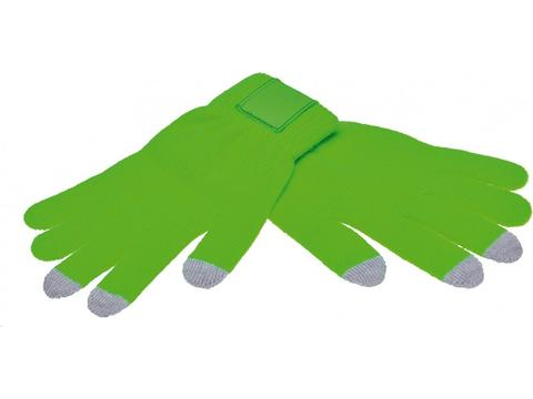 Touch screen gloves with label