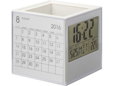 Penholder with clock Reflects