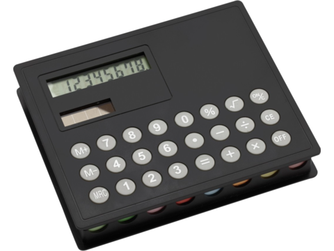 Solar calculator with sticky markers