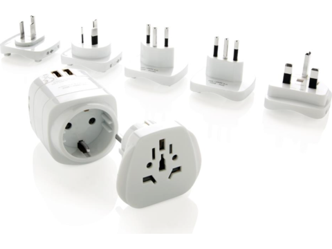 Earthed world travel adapter set with USB ports