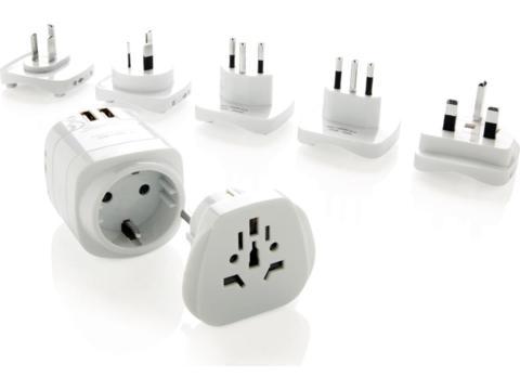 Set d'adaptateurs de voyage Terre avec ports USB