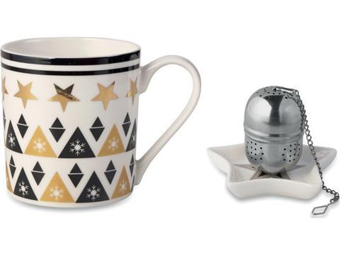 Mug, mini plate, filter in box