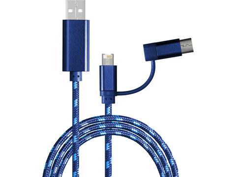 2 mètres Cable de charge avec connexion 3 en 1