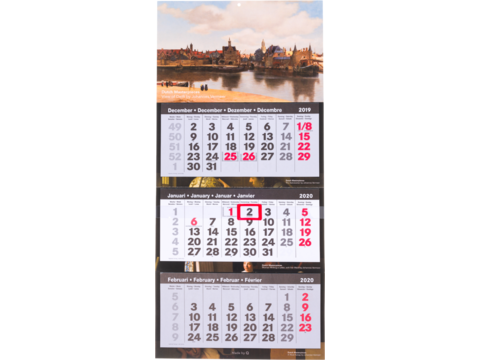 3-maand kalender Lux all over bedrukt