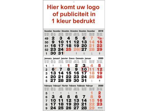 3-maandkalender bedrukt met publiciteit in 1 kleur