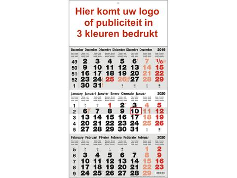3-maandkalender bedrukt met publiciteit in 3 kleuren