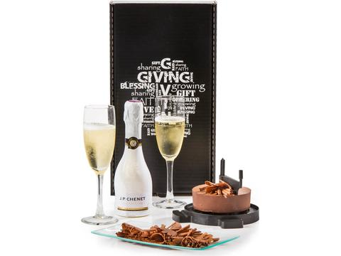Christmas gift package with chocolate and bubbles