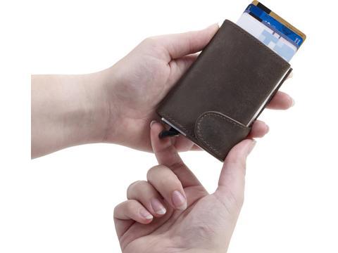 Lederen portemonnee met RFID creditcardhouder