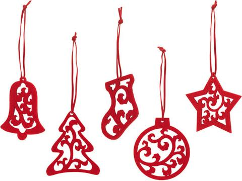 Set of 5 Christmas decorations