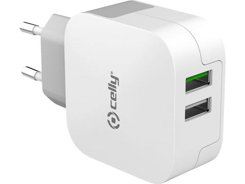 Adapter met 2.4A Turbocharge en 2 usb poorten