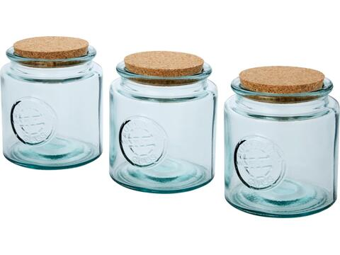 Aire 800 ml 3-piece recycled glass jar set