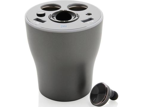 Car charger cup with hands-free earbud